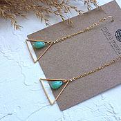 Украшения handmade. Livemaster - original item Blue Sky triangle chain earrings. Handmade.