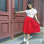"""Одежда ручной работы. Ярмарка Мастеров - ручная работа Юбка """"парящая"""" ярко-красная. Handmade."""