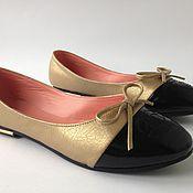 Обувь ручной работы. Ярмарка Мастеров - ручная работа Балетки золотые. Handmade.