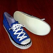 Обувь ручной работы. Ярмарка Мастеров - ручная работа Тапочки-кеды ярко-синие, хлопок. Handmade.