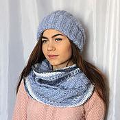 Аксессуары handmade. Livemaster - original item Set(hat and cowl) knit mohair blue. Handmade.