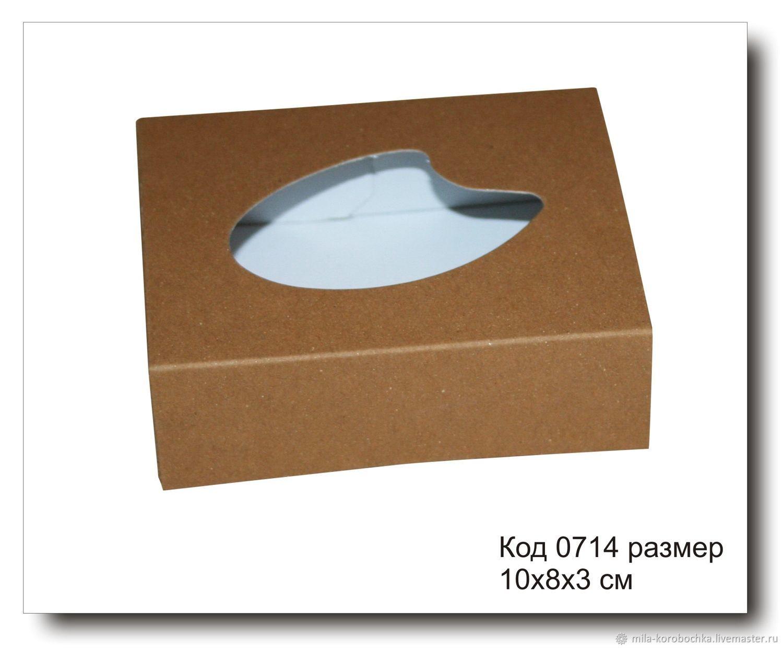 Коробочка прямоугольная (для мыла ручной работы) код 0714  размер 10х8х3 см из крафт картона.