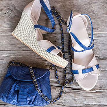 Обувь ручной работы. Ярмарка Мастеров - ручная работа Босоножки из кожи питона и кожи ягненка Vicky. Handmade.