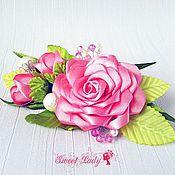 Украшения ручной работы. Ярмарка Мастеров - ручная работа Заколка из атласных лент Розовый комплимент, заколка с розами. Handmade.