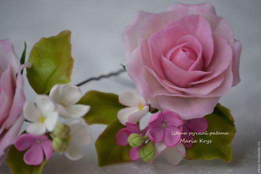 Заколки ручной работы. Ярмарка Мастеров - ручная работа. Купить Шпильки с розовыми розочками и сиренью. Handmade. Розовый, сирень, модена