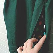 Одежда ручной работы. Ярмарка Мастеров - ручная работа простое льняное зеленое. Handmade.