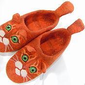 Slippers handmade. Livemaster - original item felt slippers red. Handmade.
