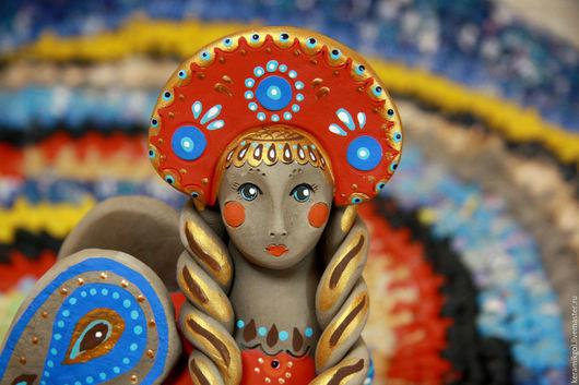 Коллекционные куклы ручной работы. Ярмарка Мастеров - ручная работа. Купить Гамаюн, птица вещая.... Handmade. Ярко-красный, окарина