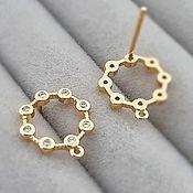 Материалы для творчества handmade. Livemaster - original item Earrings studs with zircons 14x12.5 mm gold plated (3845). Handmade.