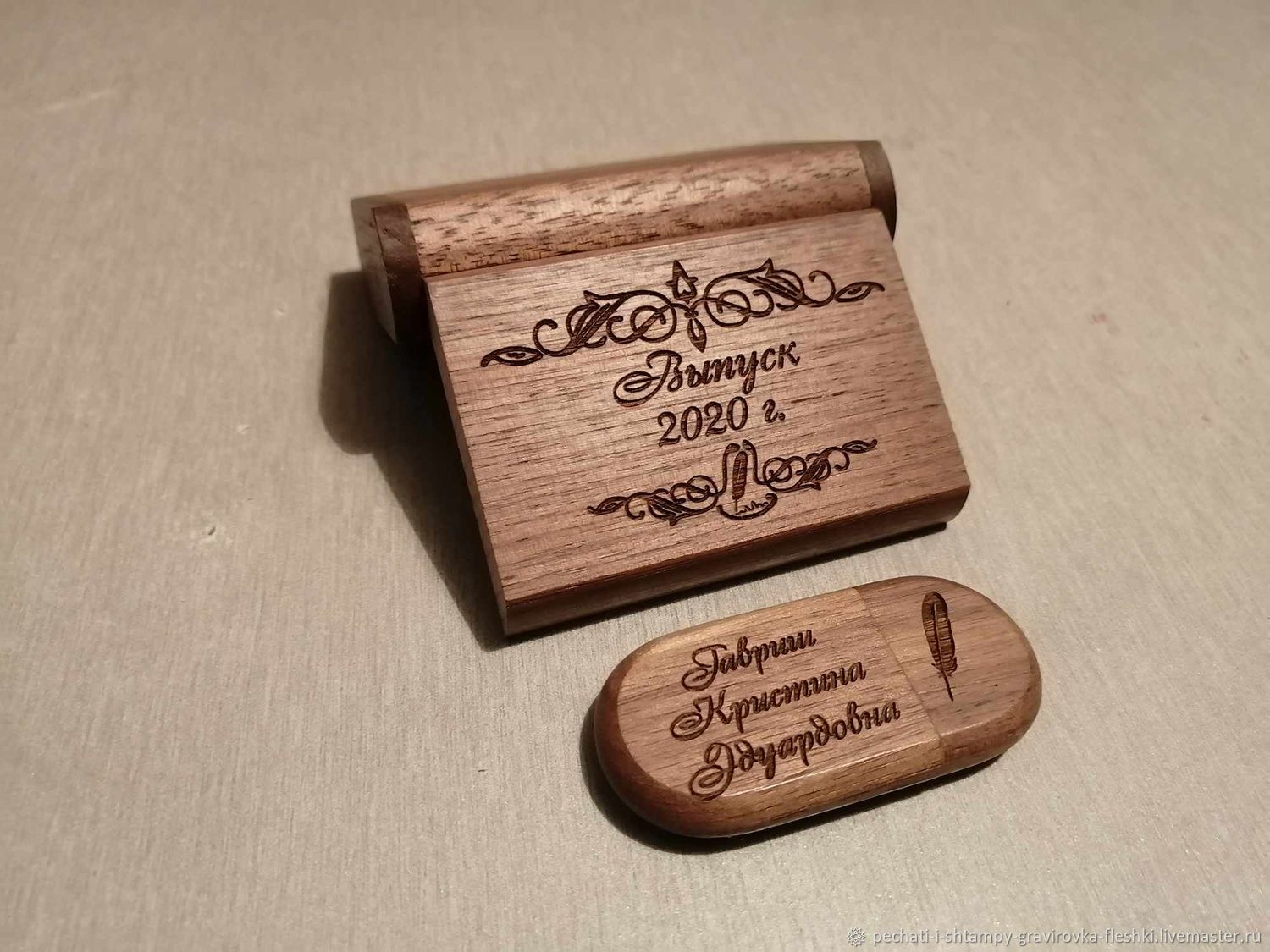 stick: Wooden flash drive with engraving in a box, a gift made of wood, Flash drives, Barnaul,  Фото №1