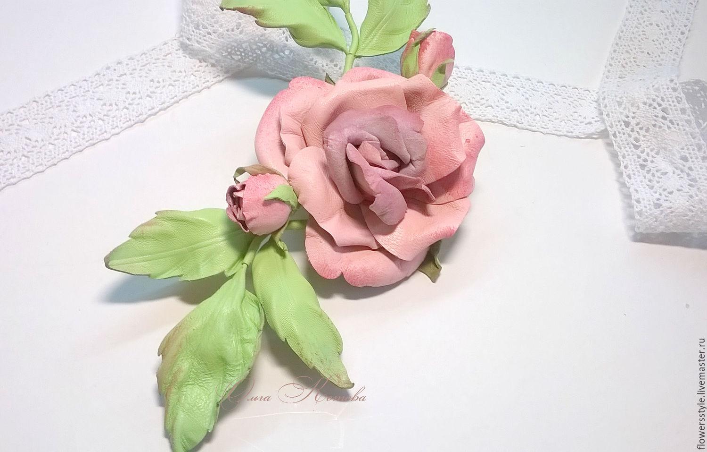 Pink Brooch Flower Rose Gentle Delicate Leather Flowers Shop