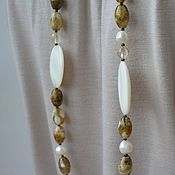 Работы для детей, handmade. Livemaster - original item Long necklace of mother of pearl, agate, pearls and citrine Summer Style. Handmade.