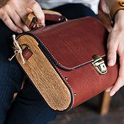 Классическая сумка ручной работы. Ярмарка Мастеров - ручная работа Женская коричневая кожаная сумка Big Brown деревянная сумка. Handmade.