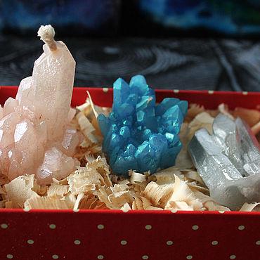 Для дома и интерьера ручной работы. Ярмарка Мастеров - ручная работа Свечи кристаллы из парафина пастельные. Handmade.