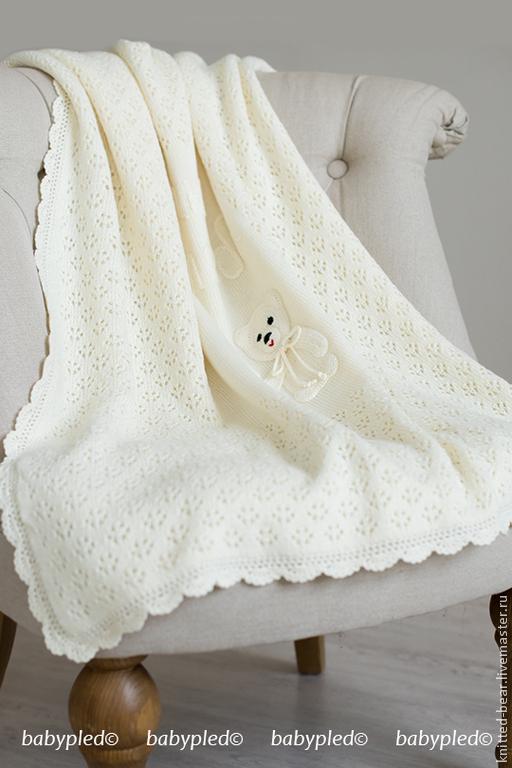 Пледы и одеяла ручной работы. Ярмарка Мастеров - ручная работа. Купить Вязаный детский плед с медвежонком. Handmade. Белый