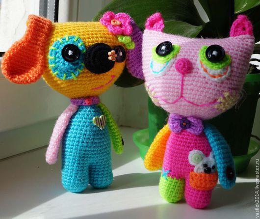 Игрушки животные, ручной работы. Ярмарка Мастеров - ручная работа. Купить Радужный пёс и кот. Handmade. Разноцветный, радужные цвета