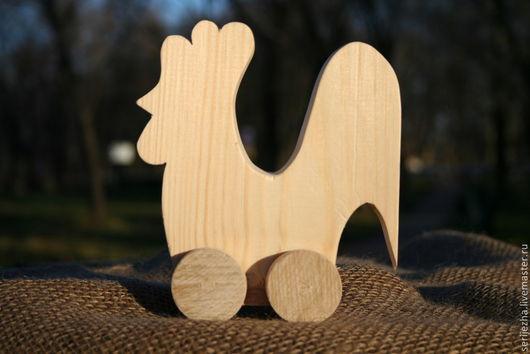 Петушок-каталка деревянная игрушка ручной работы