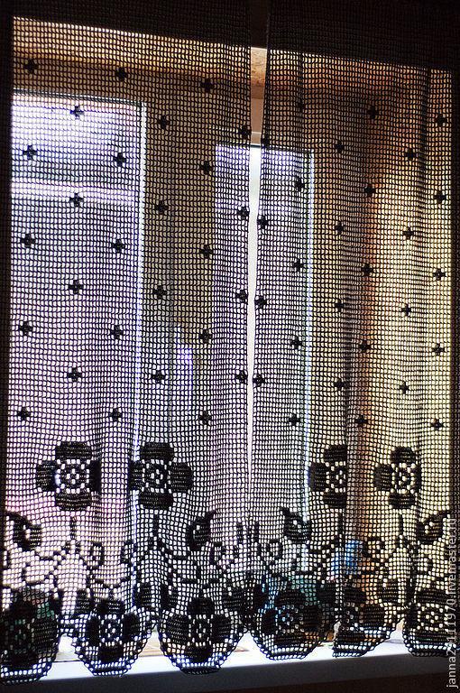 Текстиль, ковры ручной работы. Ярмарка Мастеров - ручная работа. Купить Комплект шторок с фестонами. Handmade. Коричневый, шторки для кухни
