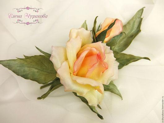 """Цветы ручной работы. Ярмарка Мастеров - ручная работа. Купить Цветы из шелка. Цветы из ткани. Роза """"ЭВЕЛИН"""".. Handmade. Белый"""