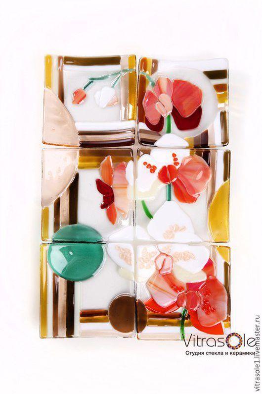 """Тарелки ручной работы. Ярмарка Мастеров - ручная работа. Купить Комплект тарелок """"Орхидея"""". Handmade. Фьюзинг, тарелка, на заказ, посуда"""