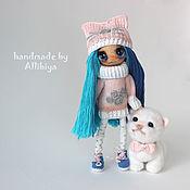 Куклы и игрушки ручной работы. Ярмарка Мастеров - ручная работа Вязаная кукла Тося и шерстяной котёнок Хвостик. Handmade.