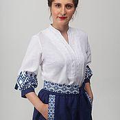 Одежда handmade. Livemaster - original item Linen blouse Native patterns 01. Handmade.