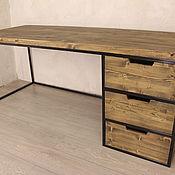 Столы ручной работы. Ярмарка Мастеров - ручная работа Стол Лофт из массива Лиственницы. Handmade.