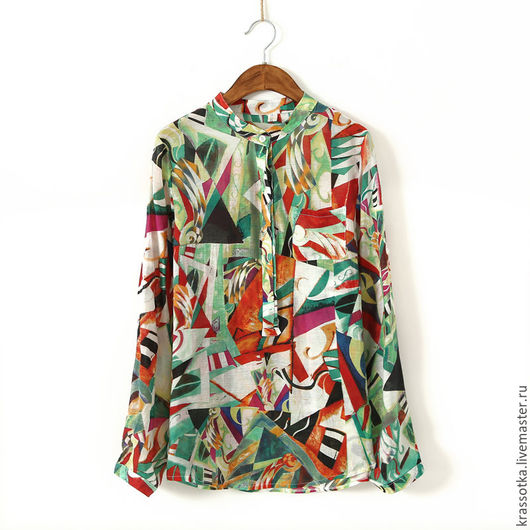 Блузки ручной работы. Ярмарка Мастеров - ручная работа. Купить Рубашка  хлопковая. Handmade. Комбинированный, кофточка летняя, кофточка на лето