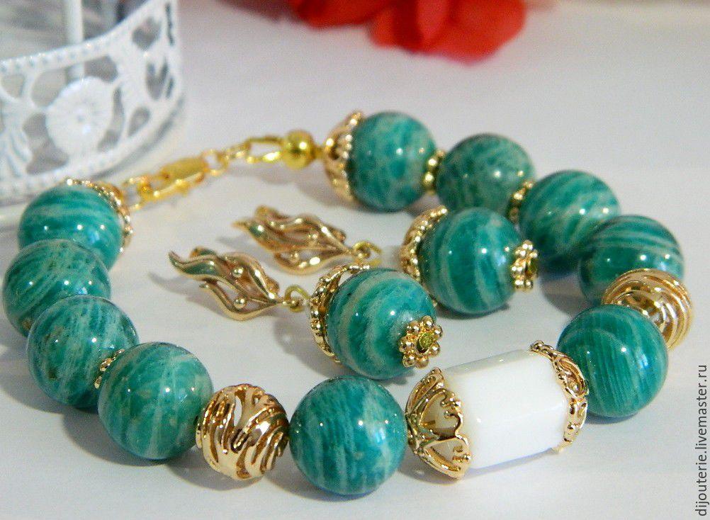 bracelet earrings amazon natural stone amazonite – shop ...