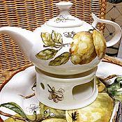 Посуда handmade. Livemaster - original item Painted porcelain Teapot Lemons and bumblebee. Handmade.