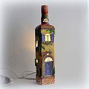 Бутылка-светильник Прованс, освещение от сети 3D декупаж