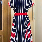 Одежда ручной работы. Ярмарка Мастеров - ручная работа платье из штапеля в морском стиле. Handmade.