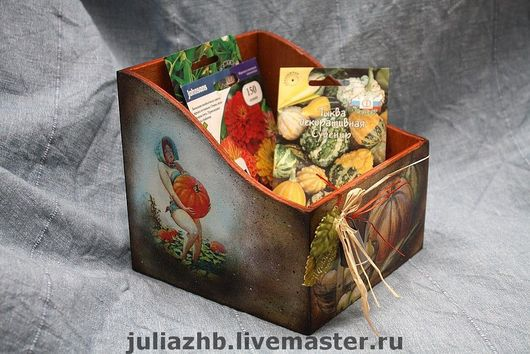 Exterior & Сottage Home handmade. Livemaster - handmade. Buy Box for seeds.Box for seeds, pumpkin