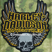Русский стиль handmade. Livemaster - original item Back patch HARLEY-DAVIDSON MOTORCYCLES SKULL WINGS GOTHIC. Handmade.