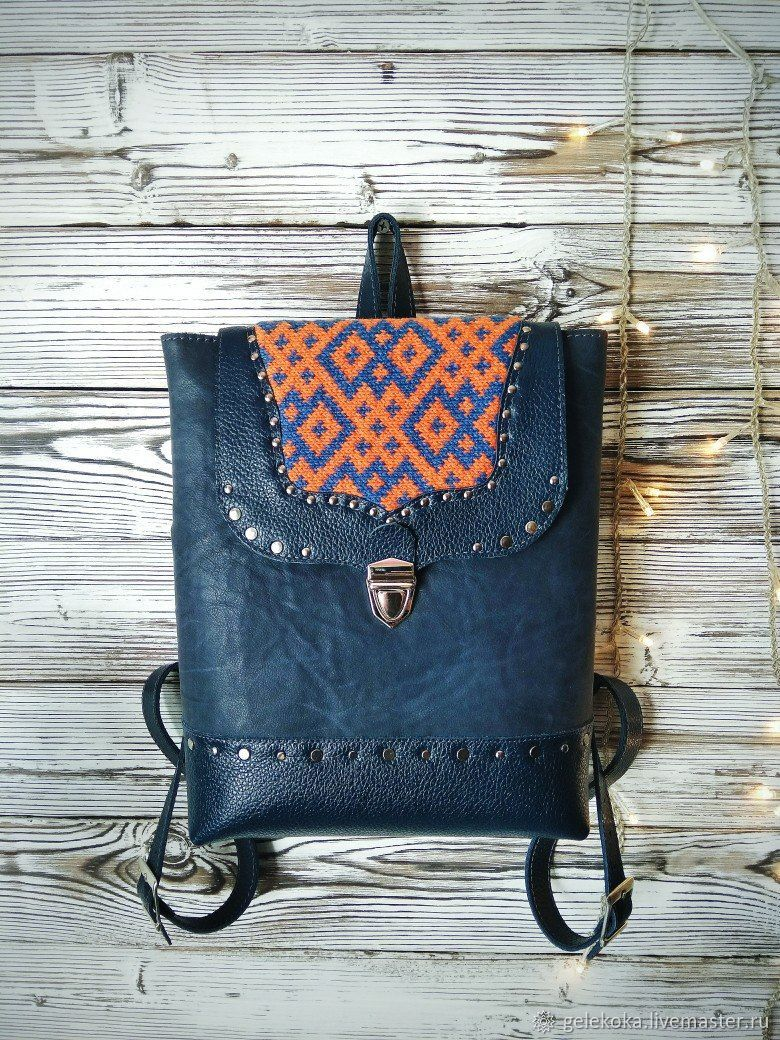 Backpack made of genuine leather with knitting Komi pattern, Backpacks, St. Petersburg,  Фото №1