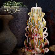 """Сувениры и подарки ручной работы. Ярмарка Мастеров - ручная работа Резная свеча """"Уют"""" высотой 22 см.. Handmade."""