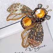Украшения handmade. Livemaster - original item Honey fly. Brooch. Handmade.