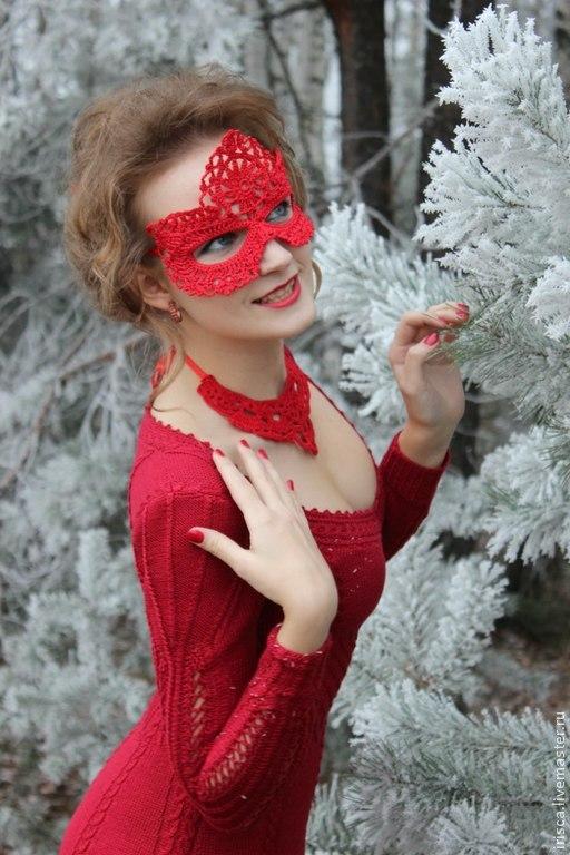 """Платья ручной работы. Ярмарка Мастеров - ручная работа. Купить Вечернее вязаное платье """"Зимняя вишня"""". Handmade. Ярко-красный"""