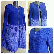 Одежда handmade. Livemaster - original item Coat with fur electric blue. Handmade.