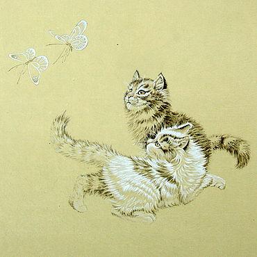 Картины и панно ручной работы. Ярмарка Мастеров - ручная работа АкварельБабочки и коты(китайская живопись добрая картина животные). Handmade.