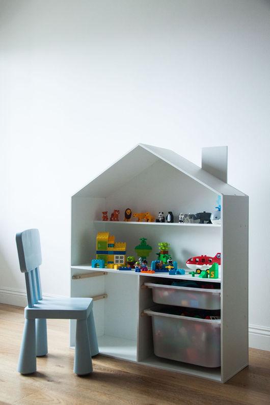 """Детская ручной работы. Ярмарка Мастеров - ручная работа. Купить Игровой стеллаж """"Лего-дом"""". Handmade. Белый, детская"""