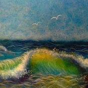 """Картины и панно ручной работы. Ярмарка Мастеров - ручная работа Картина шерстью """"Море"""". Handmade."""