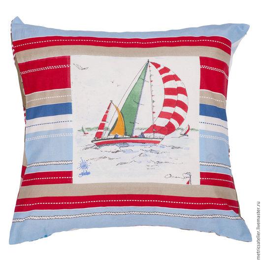 Подушка «Ветер в паруса» из серии «Морская»
