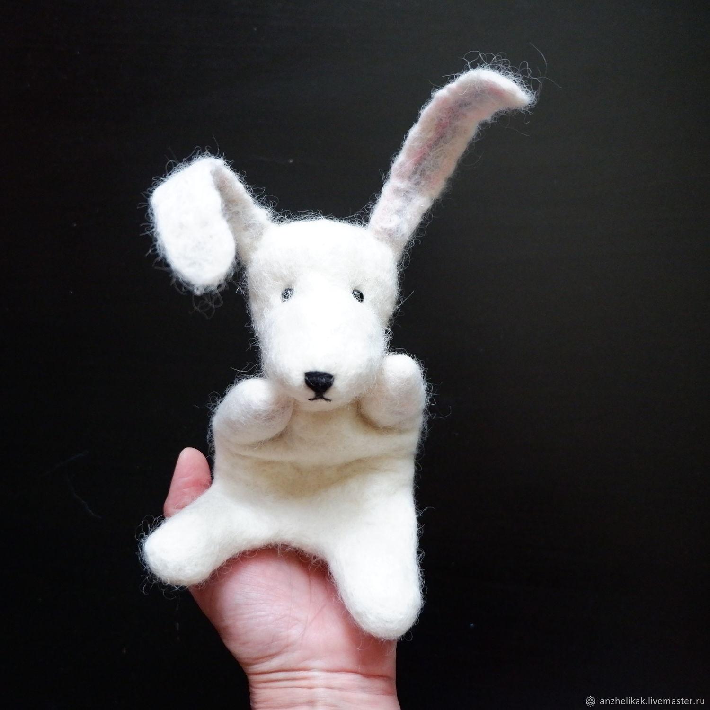 Заяц, белый кролик, зайка перчаточная кукла для театра, Кукольный театр, Ростов-на-Дону,  Фото №1