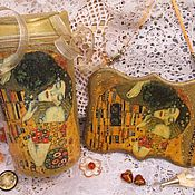 """Для дома и интерьера ручной работы. Ярмарка Мастеров - ручная работа """"Влюбленные"""" Климт.Мини-мусорка и панно. Handmade."""