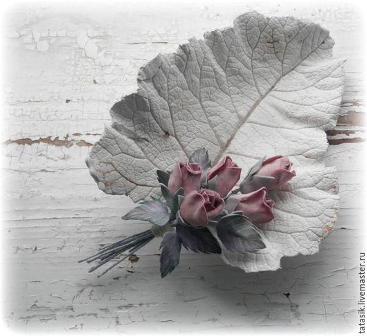 Броши ручной работы. Ярмарка Мастеров - ручная работа. Купить Пепельные розы (2). Handmade. Брошь из фоамирана, легкая брошь