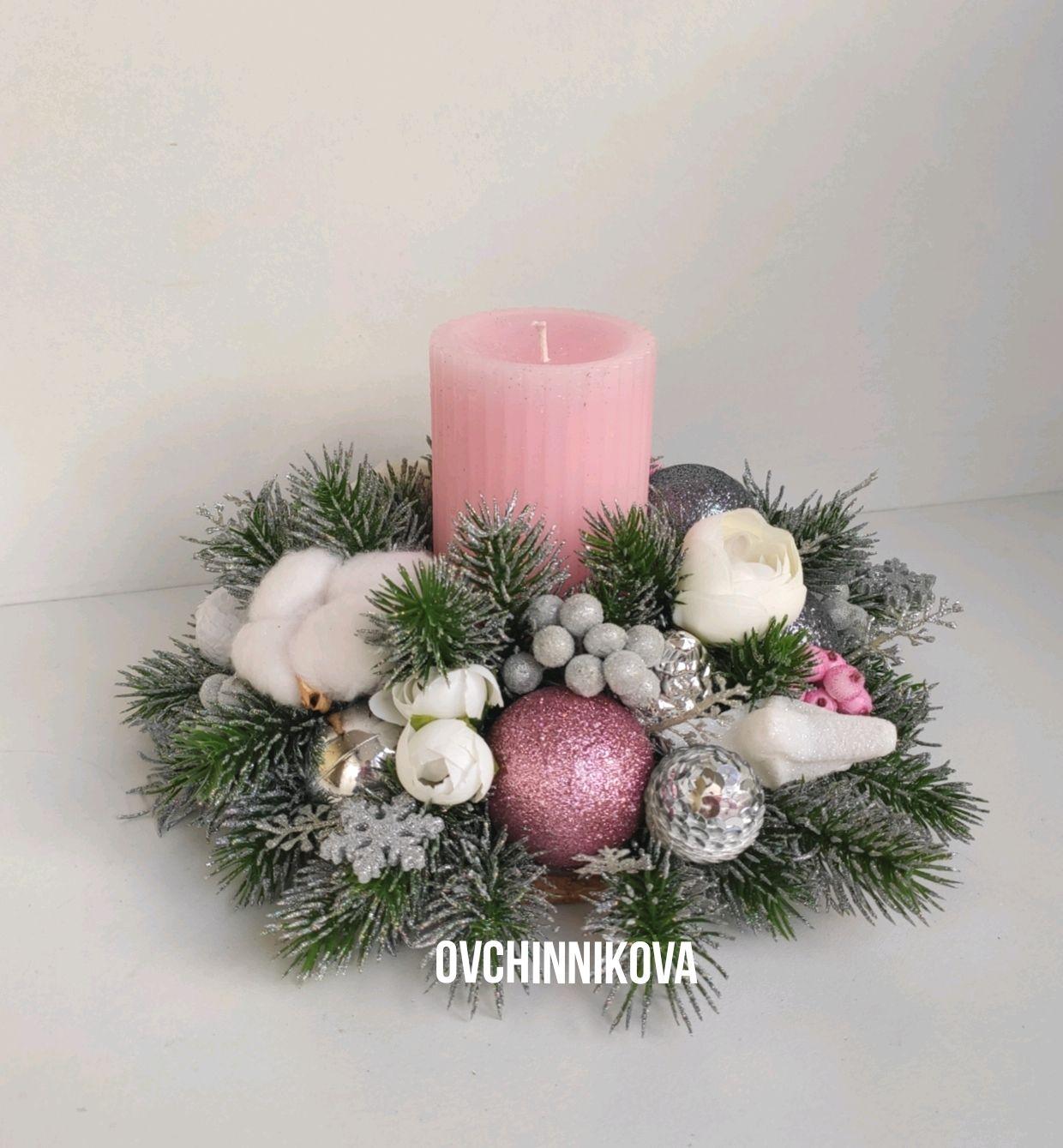 Композиция со свечой, Новогодние композиции, Москва,  Фото №1