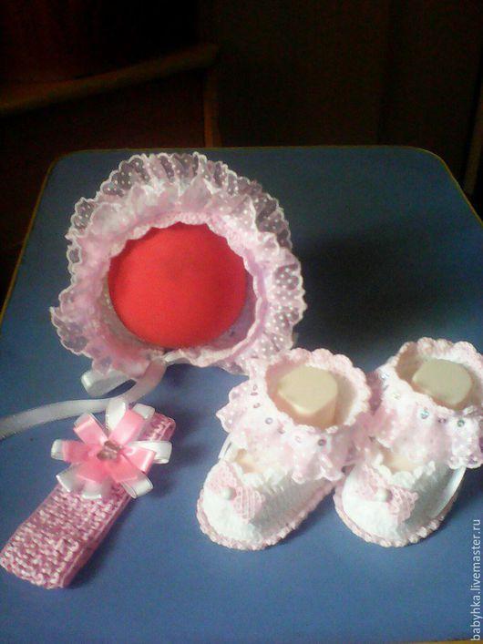 Для новорожденных, ручной работы. Ярмарка Мастеров - ручная работа. Купить комплект для  маленькой принцессы. Handmade. Комбинированный, Детский хлопок