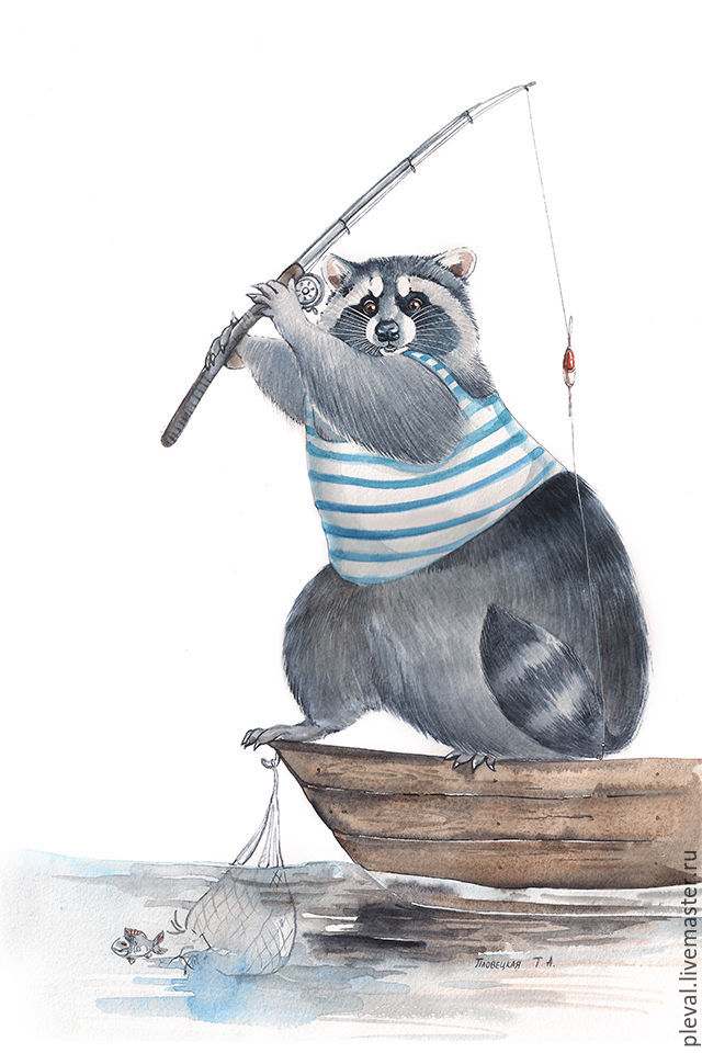 Raccoon watercolor painting - fisherman raccoon, Pictures, Podolsk,  Фото №1