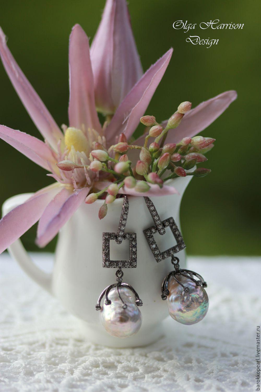 Лиловые. Серебряные серьги , Серьги классические, Майами,  Фото №1